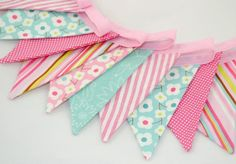 Mini Bunting - CANDY PINK & AQUA - The perfect decoration for Nurseries and Girls Bedrooms Girl Nursery, Nursery Ideas, Girls Bedroom, Bedroom Ideas, Bedrooms, Pink Elephant Party, Elephant Birthday, Mini Bunting, Aqua Fabric