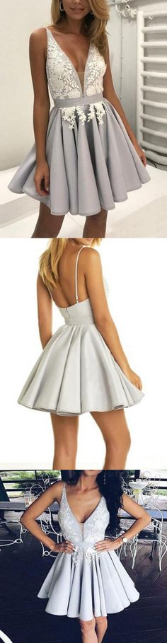 Homecoming dress,Homecoming dresses,silver homecoming dresses,v neck homecoming dress,lace homecoming dress · HerDresses · Online Store Powered by Storenvy Backless Homecoming Dresses, Hoco Dresses, Prom Party Dresses, Occasion Dresses, Dance Dresses, Formal Dresses, Semi Dresses, Elegant Dresses, Pretty Dresses