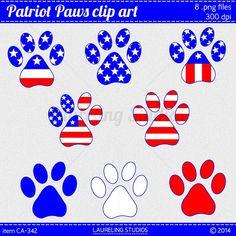 digital paw print clipart patriotic clip art by LaurelingStudios, $3.49