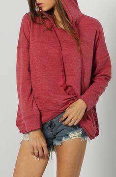 Grunge fashion-rose red loose hoodie.
