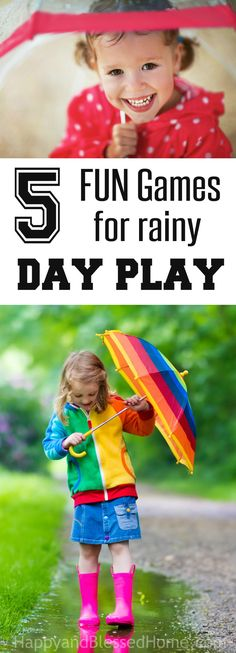 """5 FUN Games for Rainy Day Play - a perfect round-up of FUN games you can play when you are stuck indoors. Great kids activities like Go Fish (with magnets), Spanish English """"I Spy"""" Game, Jumping Beans Game, and more!"""