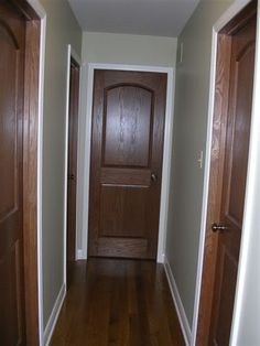 painted trim with real wood doors...I was wondering what it would look like to keep the doors wood tone but with white trim.