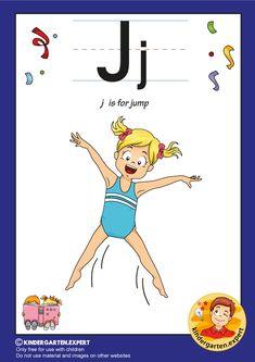 J is for jump, kindergarten expert, free printable Letter P Activities, Letter Worksheets, Preschool Activities, Letters For Kids, Alphabet Letters, Little Ones, Free Printable, Kindergarten, Homeschool