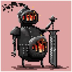 #Metal Golem, another fun sketch right before end of day for @Pixel_Dailies #pixel_dailies #pixelart