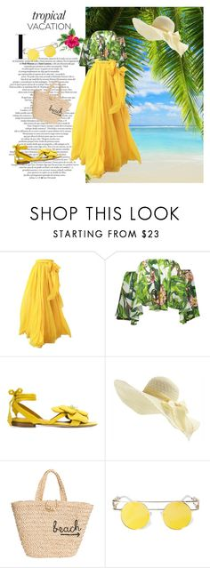 """tropical"" by tsaniaardhani on Polyvore featuring Olgana, Hat Attack and ESQAPE"