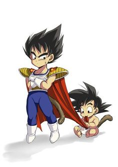 I am wondering if they grown up together since childhood !!! Young Vegeta and baby Goku #Vegeta #Goku - Visit now for 3D Dragon Ball Z shirts now on sale!