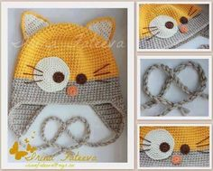 Crochet : bonnet chat. Amigurumi hearts creations by Laura ༺✿Teresa Restegui