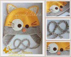 Crochet : bonnet chat. Amigurumi hearts creations by Laura ༺✿Teresa Restegui
