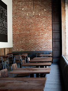 Cafe seating ideas exposed brick new ideas Pub Interior, Brick Interior, Deco Restaurant, Restaurant Seating, Brick Restaurant, Rustic Restaurant Design, Industrial Restaurant, Restaurant Ideas, Faux Brick