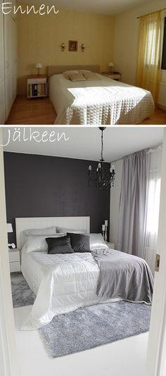 remontti,makuuhuone,valkoinen,harmaa,hopea