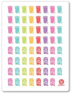 32 Trash Can/24 Recycle Stickers - Planner Penny