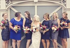 Bridesmaids - Not this color but I like the variation of different kinds of dresses!