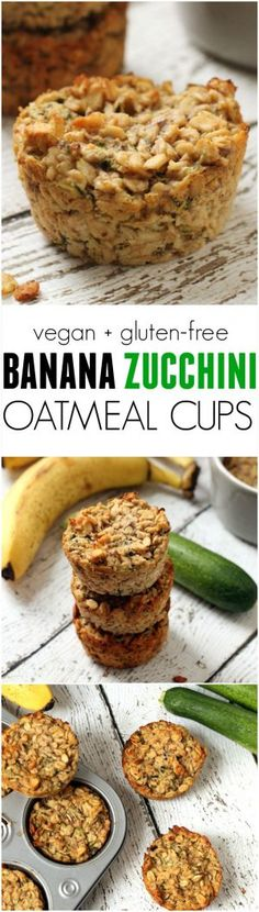 Banana Zucchini Oatmeal Cups --a portable easy healthy breakfast on-the-go! Vegan gluten-free kid-friendly no refined sugar. Baby Food Recipes, Gluten Free Recipes, Vegetarian Recipes, Cooking Recipes, Healthy Recipes, Vegan Zuchinni Recipes, Chicken Recipes, Kitchen Recipes, Healthy Kid Friendly Recipes