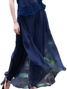 Pure Color Casual Women Elastic Waist Sheer Chiffon Pleated Trousers