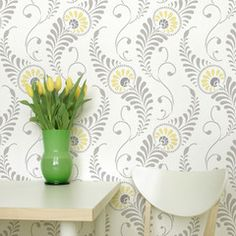 Feathered Damask Stencil...great pattern for a breakfast nook/kitchen.