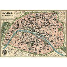 Cavallini Paris map wrapping paper