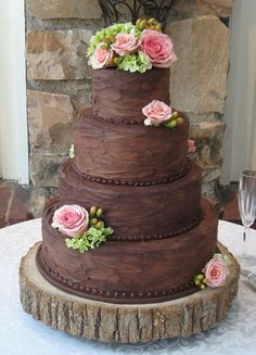 Chocolate rustic wedding cake with roses by Kay Maggie
