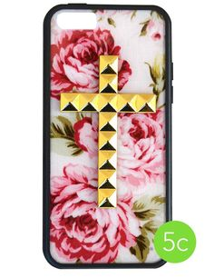 Cream Floral Gold Studded Cross iPhone 5c Wildflower Case $35.00