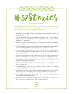 52 Questions in 52 Weeks: Writing Your Life Story Has Never Been Easier. Answer one question per week as part of the #52stories project from FamilySearch.