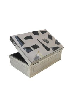 """Choose from the larger hinged box 9.5 x 6"""", the medium 6.5"""" square, both with dividers, or a smaller loose lid model with natural horn embedded design. Handcrafted in Argentina.   Alpaca Silver/horn Box by Diseño bos. Home & Gifts - Gifts & Things Boston, Massachusetts"""