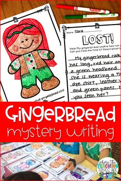 "Your students will love this fun gingerbread mystery writing activity! The students will decorate their ""gingerbread cookie"" and then fill out a ""Lost Poster"" with a detailed description of their cookie. The goal is to include enough descriptive language that the other students can help ""find"" which gingerbread cookie is theirs! Have fun! For grades K-2."