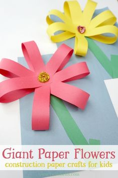 Paper Discover Giant Paper Flowers Construction Paper Crafts for Kids - Twitchetts Create giant paper flowers with simple supplies and fine motor skills. Your kids will be proud of this fun construction paper craft! Spring Crafts For Kids, Paper Crafts For Kids, Preschool Crafts, Fun Crafts, Diy Paper, Simple Paper Crafts, Tissue Paper, Simple Crafts For Kids, Paper Crafting