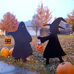 homemade trick or treaters- great silhouettes