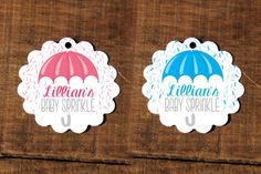 Custom Baby Sprinkle Tags, Umbrella, Baby Showers, Sprinkle, Mommy, Sprinkles, Pink, Blue, New Baby by CaffeinatedSquirrel on Etsy Baby Shower Tags, Baby Showers, Baby Sprinkle Favors, Baby Messages, Wine Bottle Labels, Pink Blue, Sprinkles, New Baby Products, Card Stock