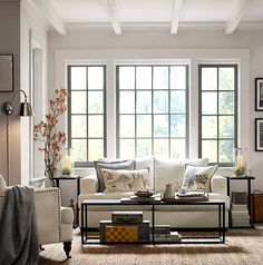 Style with size in mind. #potterybarn Steel framed windows. Whitewashed beams. Just everything.