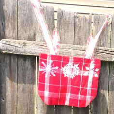 Snowflake Fabric Mini Tote / Gift Bag