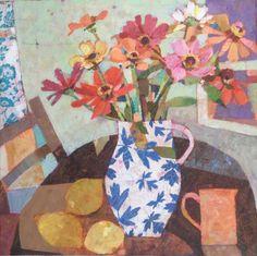 Sally Anne Fitter - Copyright 2016. Flower Collage, Collage Art, Flower Art, Painting Still Life, Still Life Art, Art Floral, Spring Painting, Abstract Flowers, Botanical Art