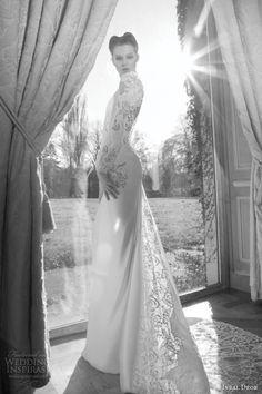 vintage long sleeve lace wedding dresses | ... dror 2013 bridal wedding dress long puff sleeve lace guipure train