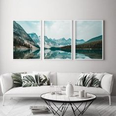 Set of three brown, blue and green mountain and lake reflection landscape prints. Set of 3 mountain range lake reflection modern wall art Give your New Year a little serenity with this set of three murals of a mountain landscape that is Landscape Walls, Landscape Prints, Mountain Landscape, Green Mountain, Mountain Range, Mountain Art, Mountain Modern, Snow Mountain, Art Mur