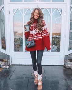 Red Christmas sweater with black leather leggings, Marc Fisher Izzie beige booties and black chanel bag. #skitripoiutfit #holidayoutfit #skitrippacking #christmasdayoutfit