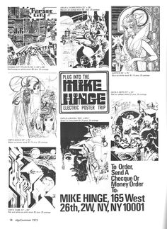 1975 ad for Mike Hinge posters  //  via70s Sci-Fi Art