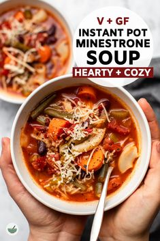 This Instant Pot Minestrone Soup is hearty, cozy, and packed with tons of veggies! A perfect one-pot meal for lunch, dinner, or meal prep. #minestrone #instantpot #vegan #glutenfree #plantbased | frommybowl.com