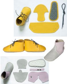 Erste Babyschuhe aus Leder First baby shoes made of leather Doll Shoe Patterns, Baby Shoes Pattern, Cute Baby Shoes, Leather Baby Shoes, Felted Slippers, Leather Gifts, Baby Boots, How To Make Shoes, Doll Shoes
