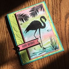 Stampin' Up! Fabulous Flamingo and Marbled Background March 2018 Stamp Camp
