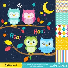 Owl Digital Clipart Owl Clipart Sleeping Owl por Cutesiness