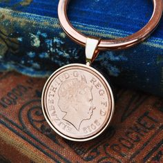 Copper Anniversary Keyring, Penny Birth Year Keyring Coin Keyring Mens Birthday Copper Anniversary Present Gift Lucky Advertising Pictures, 7th Anniversary Gifts, Copper Penny, Penny Coin, Birth Year, Present Gift, Rose Gold Plates, Key Rings, Coins