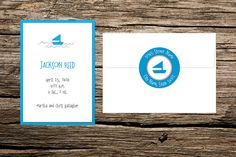 White and Blue Sailboat Birth Announcement, Set of 20 Cards, Baby Boy, Baby Announcement, Personalized Handmade Card