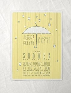 Umbrella hearts baby shower invitations with by moonscapehandmade
