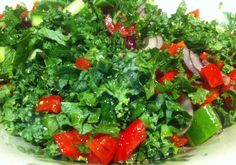 Salad of Kale, tomato, red onion and cucumber!