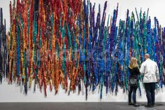 Sheila Hicks' 'The Treaty of Chromatic Zones', exhibited at the Art Basel 2015 in Basel, one of the world's largest and most spectacular modern art gatherings. In 2014 the show attracted art lovers from all over the world. Art Fibres Textiles, Textile Fiber Art, Weaving Textiles, Weaving Art, Textile Artists, Tapestry Weaving, Sculpture Textile, Sculpture Art, Yarn Spinner