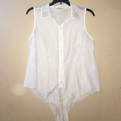 lightweight mesh button up tank top white button up tank top with detailing on the collar and tie ups at the bottom --some of the detailing at the collar is missing Candie's Tops Button Down Shirts