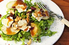 Pear and Brie Salad with Cashews and Dried Cranberries
