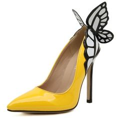 Cheap Celebrity Fashion Pointed Closed Toe Butterfly Design Stiletto High Heel Yellow PU Basic Pumps