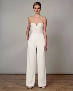 50e555500cd Strapless wedding jumpsuit with sweetheart neckline and embroidered bodice  Wedding Jumpsuit