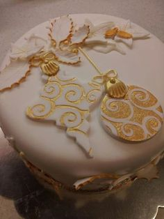 white christmas cake, 2D gold baubles design - Google Search