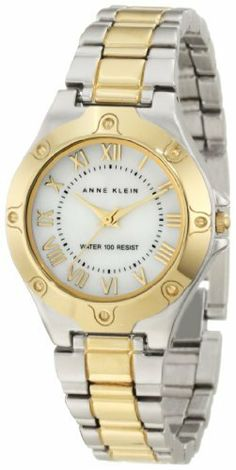 Anne Klein Women's 10/9819MPTT Two-Tone Two-Tone Easy-To-Read Bracelet Watch Anne Klein. $65.00. Polished gold-tone bezel with 8 gold-tone screw accents. Water resistant up to 100 ft. Easy-to-read, genuine mother-of-pearl dial with gold-tone roman numeral markers at all hours. Large, 30 mm round case finished in brushed silver-tone. Two-tone adjustable link bracelet with brushed silver-tone outer links and polished gold-tone center links
